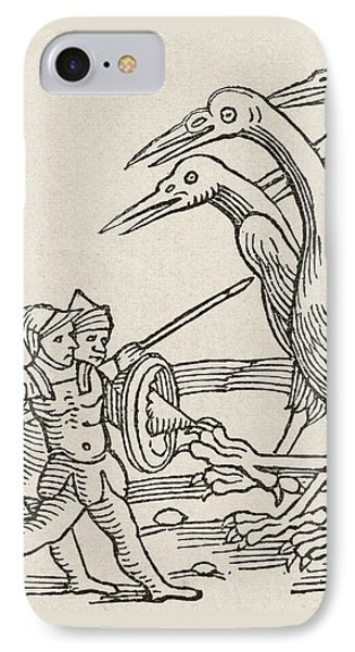 Fight Between Pygmies And Cranes. A Story From Greek Mythology IPhone Case by English School