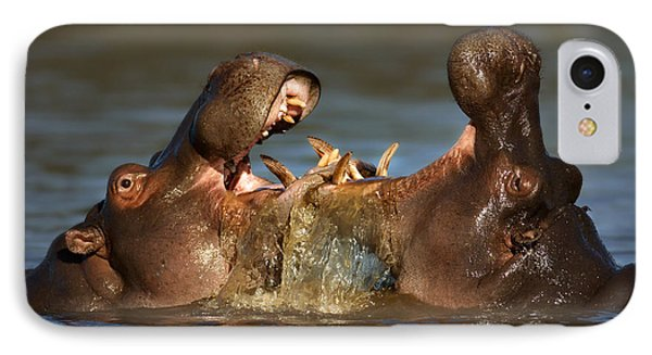 Fighting Hippo's IPhone Case by Johan Swanepoel