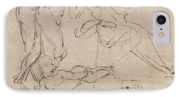Figural Study For The Adoration Of The Magi IPhone Case by Leonardo Da Vinci