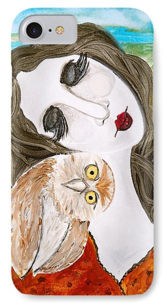 Figure And Owl Painting - Wise Beyond My Years IPhone Case