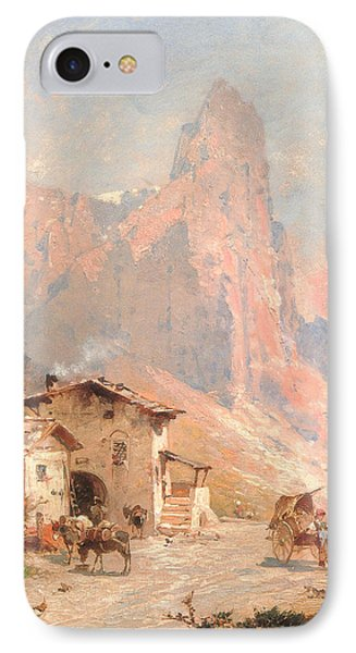 Figures In A Village In The Dolomites Phone Case by Franz Richard Unterberger