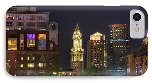 Financial District At Night - Boston Phone Case by Joann Vitali