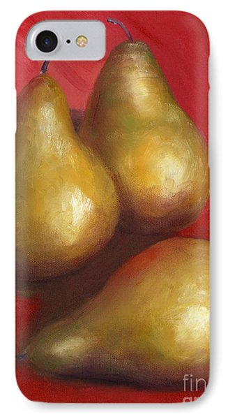 Fine Art Hand Painted Golden Pears Red Background Phone Case by Lenora  De Lude
