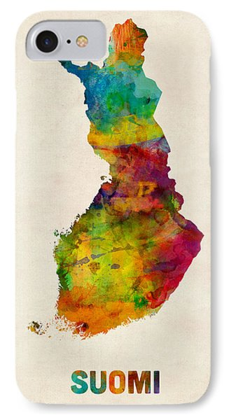 Finland Watercolor Map Suomi IPhone Case by Michael Tompsett