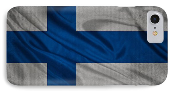 Finnish Flag Waving On Canvas IPhone Case by Eti Reid