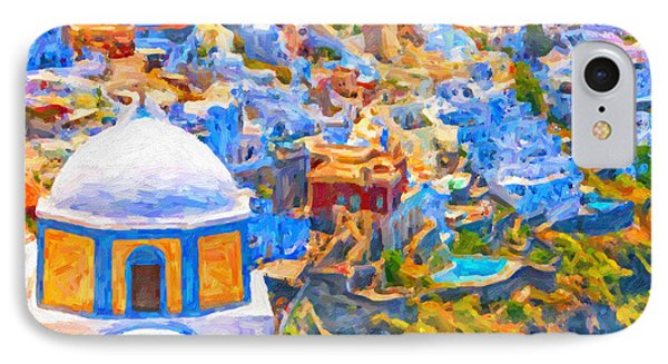 Fira Church Abstract Digital Painting IPhone Case by Antony McAulay