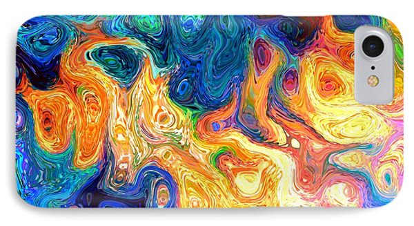 Fire And Water Abstract Art IPhone Case by Annie Zeno