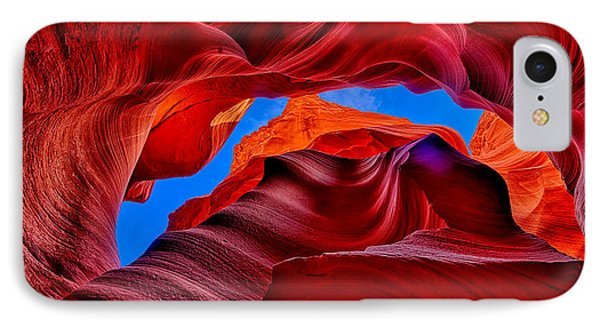 Fire Beneath The Sky In Antelope Canyon IPhone Case by Greg Norrell