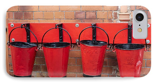 Fire Buckets At Toddington Railway Station IPhone Case by Louise Heusinkveld