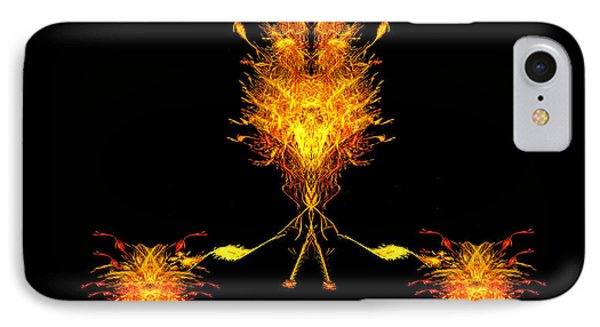 IPhone Case featuring the digital art Fire Dude Walking His Fire Dogs by R Thomas Brass
