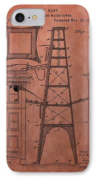Fire Escape And Water Tower Patent Fireman IPhone Case by Dan Sproul
