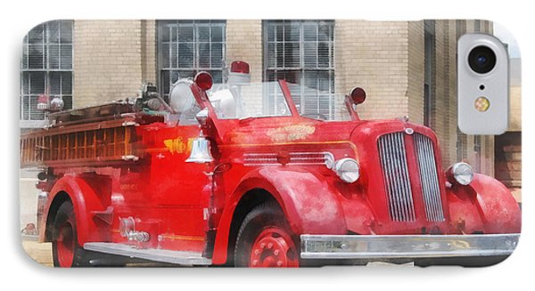 Fire Fighters - Vintage Fire Truck Phone Case by Susan Savad