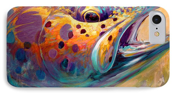 Fire From Water - Rainbow Trout Contemporary Art IPhone Case by Savlen Art
