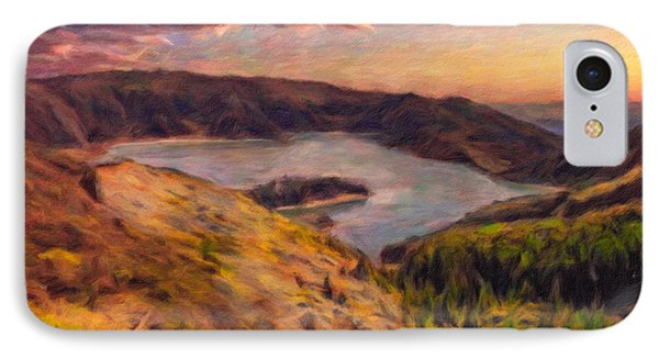 Fire Lake At Sunset IPhone Case