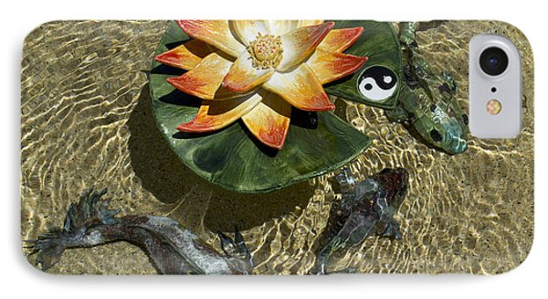 IPhone Case featuring the sculpture Fire Lotus With Dragon Koi by Suzette Kallen