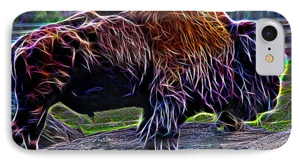 Fire Of A Bison  IPhone Case by Miroslava Jurcik