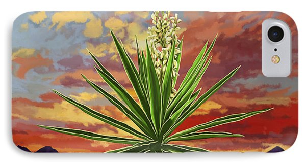 Fire Sky Desert Blooming Yucca IPhone Case by Tim Gilliland