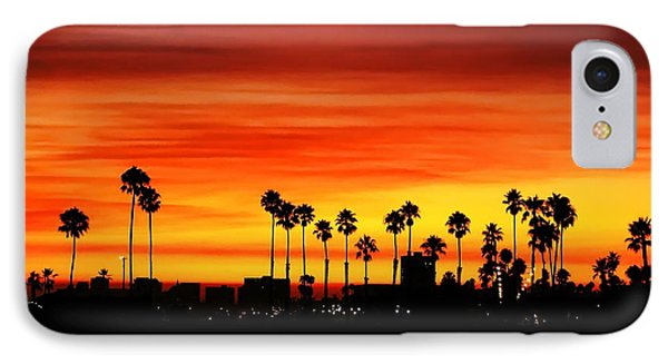 IPhone Case featuring the photograph Fire Sunset In Long Beach by Mariola Bitner