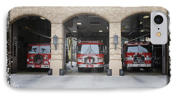 Fire Trucks At The Lafd Fire Station Are Decorated For Christmas Phone Case by Nina Prommer