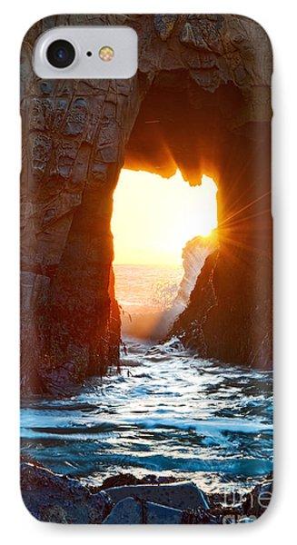 Fireburst - Arch Rock In Pfeiffer Beach In Big Sur. Phone Case by Jamie Pham
