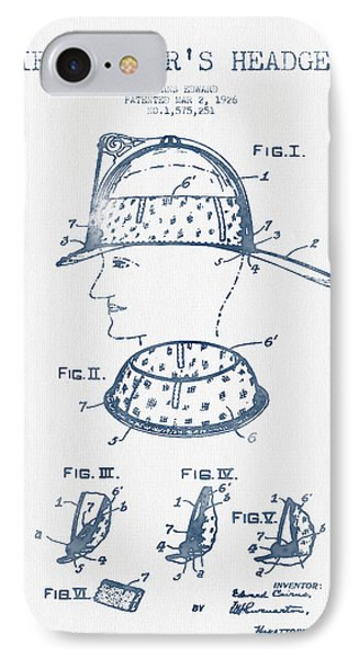 Firefighter Headgear Patent Drawing From 1926- Blue Ink IPhone Case