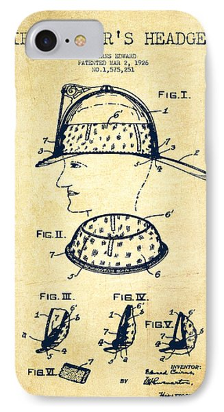Firefighter Headgear Patent Drawing From 1926 - Vintage IPhone Case by Aged Pixel