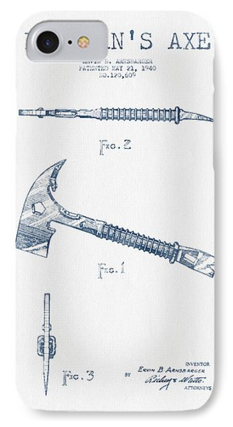 Fireman Axe Patent Drawing From 1940- Blue Ink IPhone Case by Aged Pixel