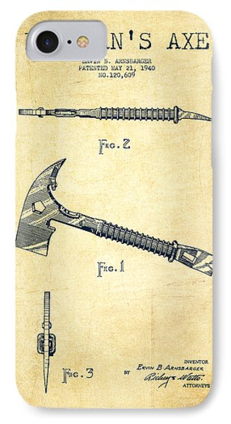 Fireman Axe Patent Drawing From 1940 - Vintage IPhone Case by Aged Pixel