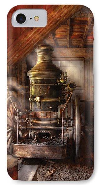 Fireman - Steam Powered Water Pump Phone Case by Mike Savad