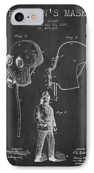 Firemans Mask Patent From 1889 - Dark IPhone Case by Aged Pixel