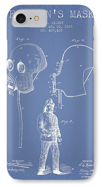 Firemans Mask Patent From 1889 - Light Blue IPhone Case by Aged Pixel