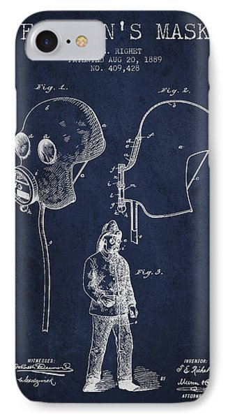 Firemans Mask Patent From 1889 - Navy Blue IPhone Case by Aged Pixel