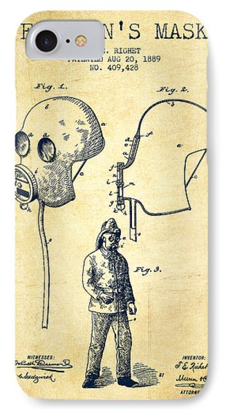 Firemans Mask Patent From 1889 - Vintage IPhone Case by Aged Pixel