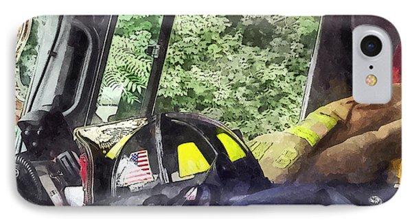 Firemen - Helmet Inside Cab Of Fire Truck Phone Case by Susan Savad