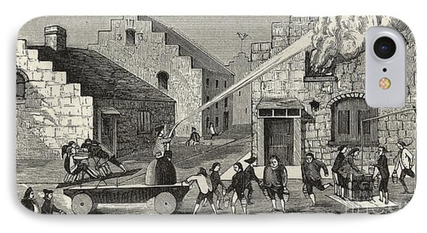 Firemen With A Water Pump, 18th Century IPhone Case by Library Of Congress