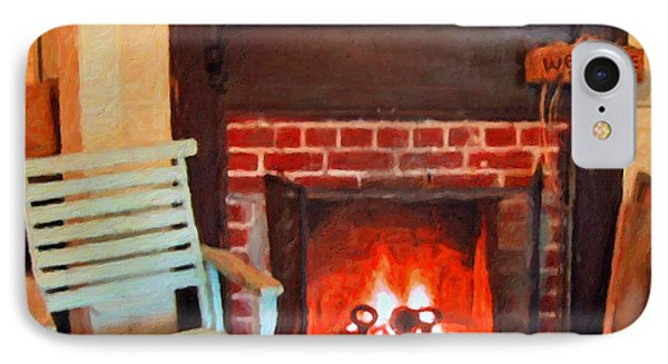 The Family Hearth - Fireplace Old Rocking Chair IPhone Case by Rebecca Korpita