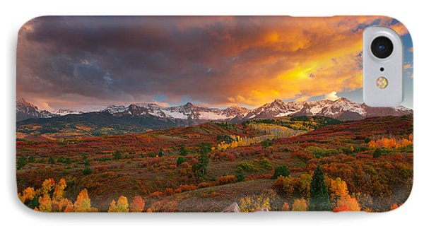 Firery Sunset At Dallas Divide IPhone Case by Tim Reaves
