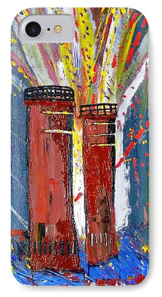 IPhone Case featuring the painting Firetowers Fireworks by Leslie Byrne