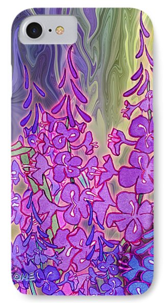 IPhone Case featuring the mixed media Fireweed Medley by Teresa Ascone