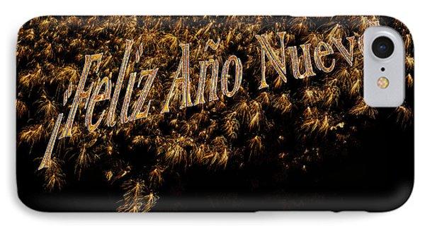 Fireworks Feliz Ano Nuevo In Elegant Gold And Black Phone Case by Marianne Campolongo