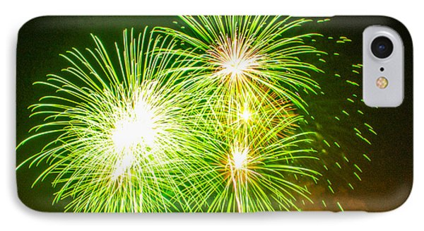 IPhone Case featuring the photograph Fireworks Green And White by Robert Hebert