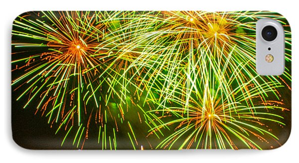 IPhone Case featuring the photograph Fireworks Green And Yellow by Robert Hebert