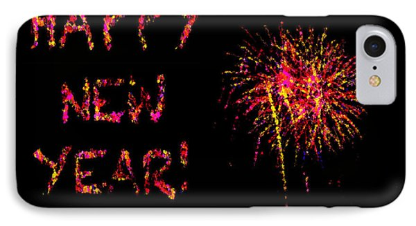 Fireworks Happy New Year In Pink Phone Case by Marianne Campolongo
