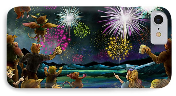 IPhone Case featuring the painting Fireworks In Oxboar by Reynold Jay