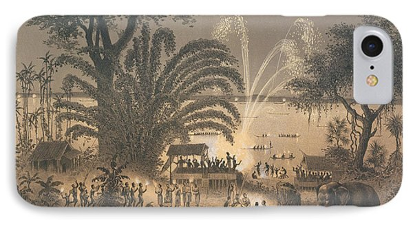 Fireworks On The River At Celebrations IPhone Case by Louis Delaporte