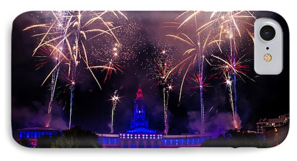 Fireworks Over Denver City And County Building Phone Case by Teri Virbickis