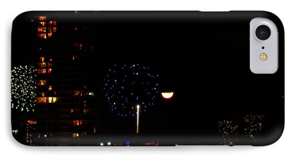 IPhone Case featuring the photograph Fireworks Over Miami Moon II by J Anthony