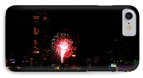 IPhone Case featuring the photograph Fireworks Over Miami Moon by J Anthony