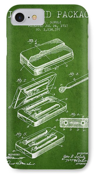 First Aid Package Patent From 1917 - Green IPhone Case by Aged Pixel