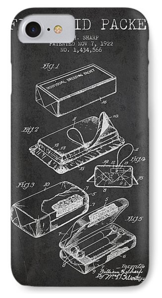 First Aid Packet Patent From 1922 - Charcoal IPhone Case by Aged Pixel